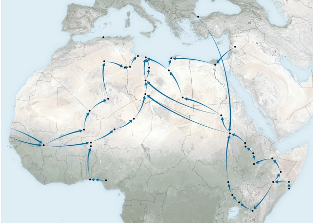 Migration routes through northern Africa (source: NY Times)