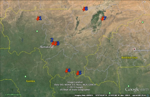 Sites of terrorist attacks in central/southern Mali (numbers correspond to locations enumerated below)